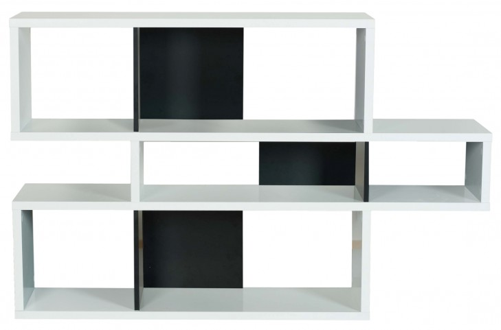 London Pure WhiteFrame With Pure Black Backs 6 Shelf Bookcase