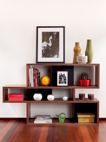 London Walnut Frame With Pure Black Backs 6 Shelf Bookcase