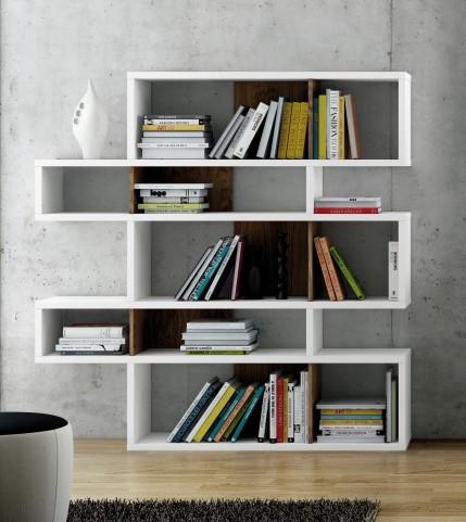 London Pure White Frame with Walnut Backs 10 Shelf Bookcase