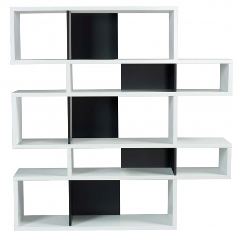 London Pure White Frame with Pure Black Backs 10 Shelf Bookcase