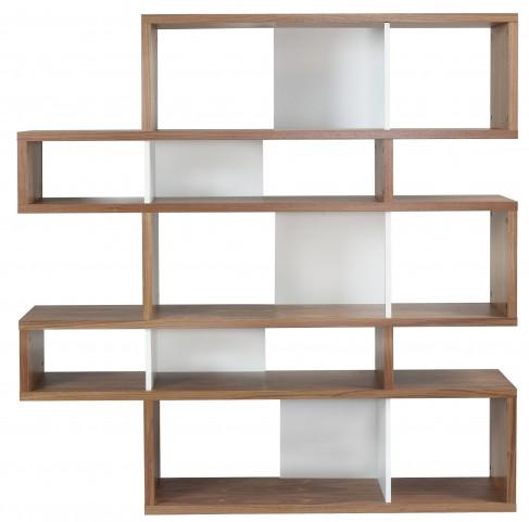 London Walnut Frame with Pure White Backs 10 Shelf Bookcase