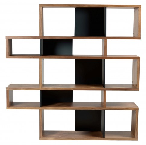 London Walnut Frame with Pure Black Backs 10 Shelf Bookcase