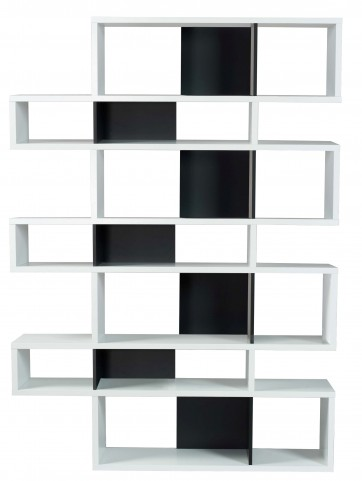 London Pure White Frame with Pure Black Backs 14 Shelf Bookcase