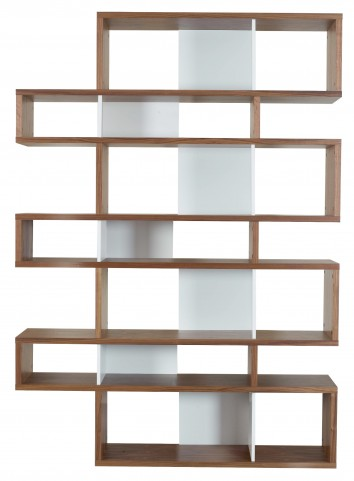 London Walnut Frame with Pure White Backs 14 Shelf Bookcase