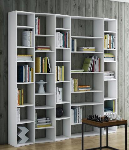 Valsa White 35 Shelf Wide Bookcase