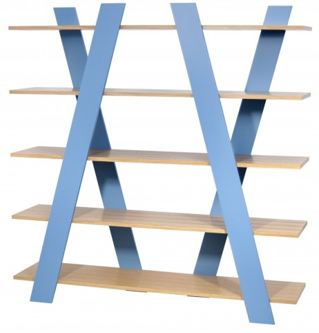 Wind Oak and Light Blue Shelving Unit