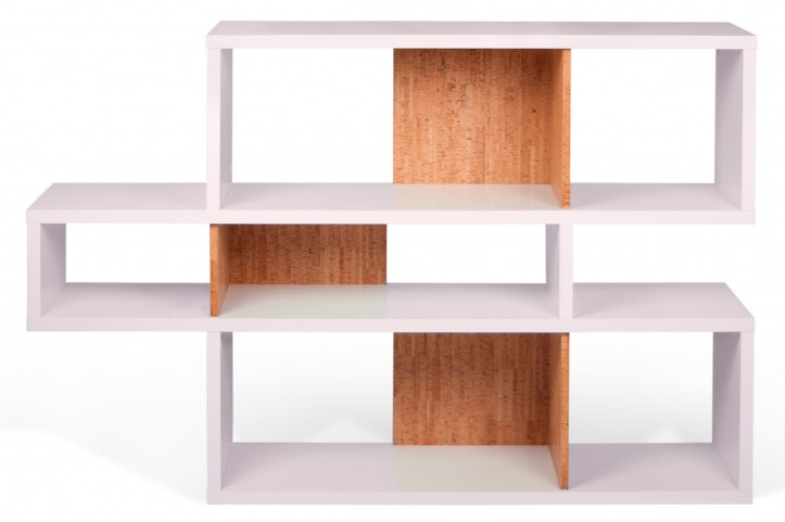 London Pure WhiteFrame With Cork Backs 6 Shelf Bookcase