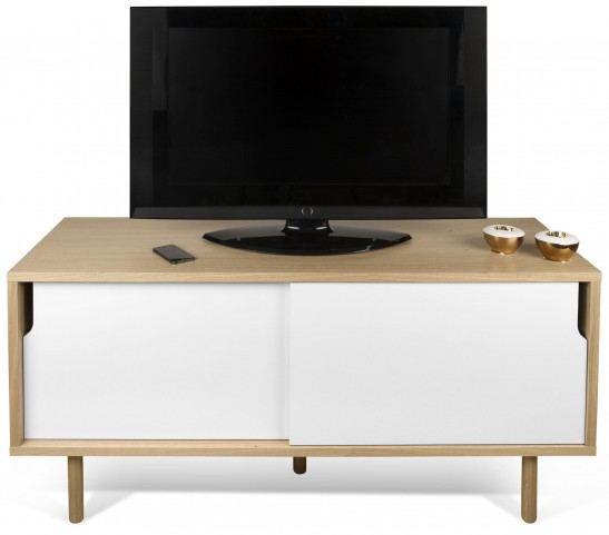 Dann Oak and Pure White TV Table