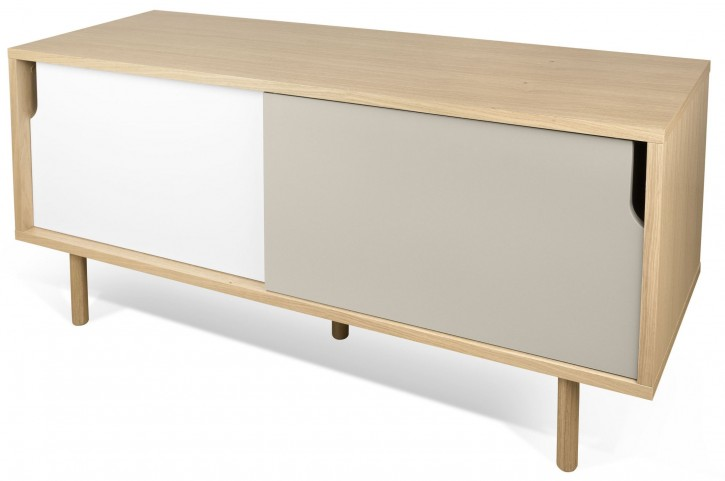 Dann Oak Pure White and Matte Grey TV Table