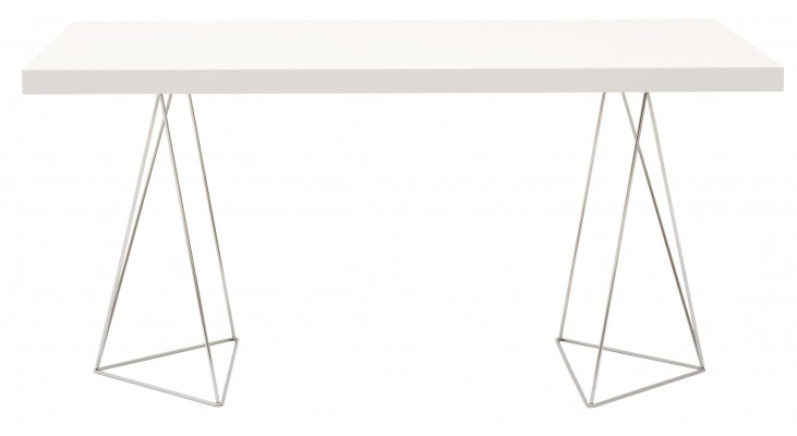 "Multi White 71"" Table Top with Trestles"