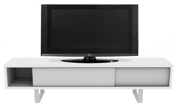 Slide White Low With Doors and Feet TV Console