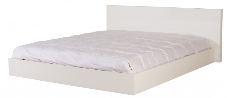 Float High Gloss White Queen Size Bed