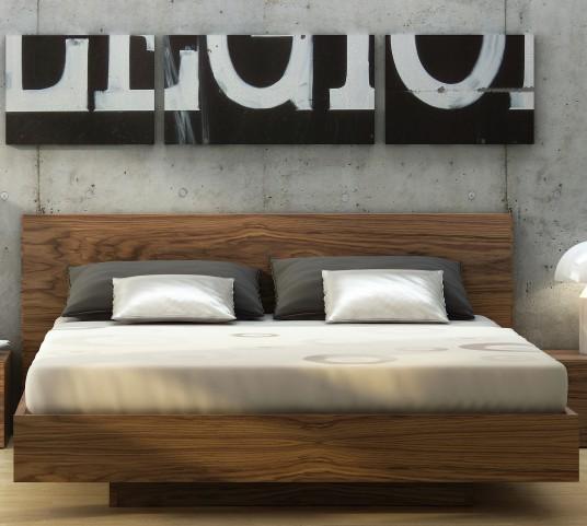 Float Walnut Queen Size Bed