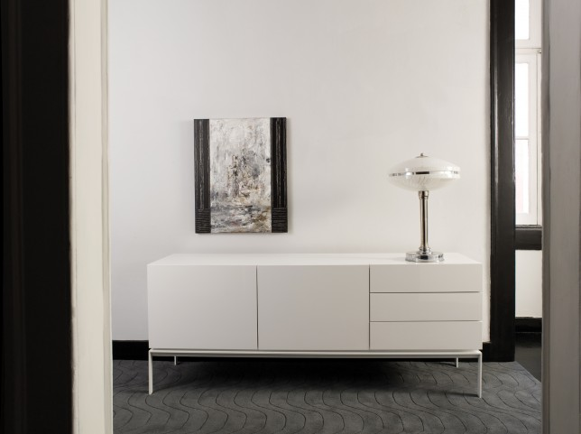 Glare High Gloss White Sideboard with Legs