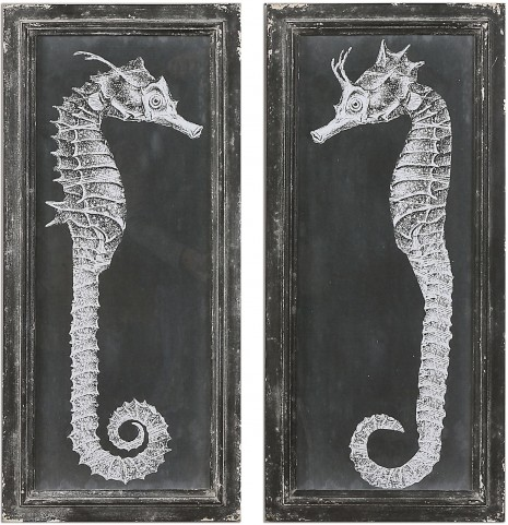 Seahorse Blueprints Art Set of 2