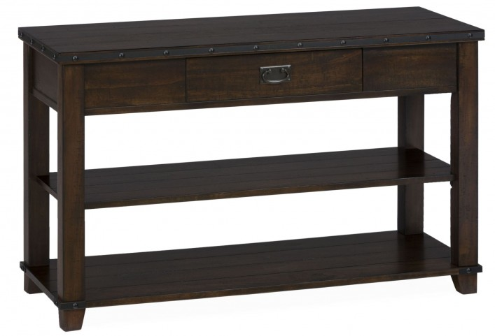 Cassidy Distressed Brown Sofa/Media Table