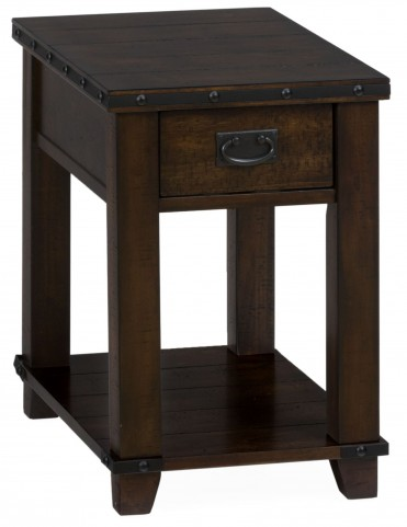 Cassidy Distressed Brown Chairside Table