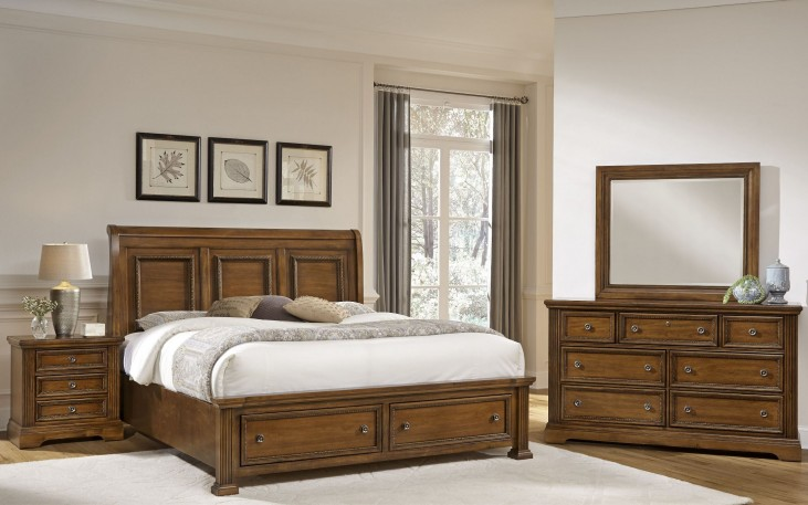 Affinity Antique Cherry Sleigh Storage Bedroom Set