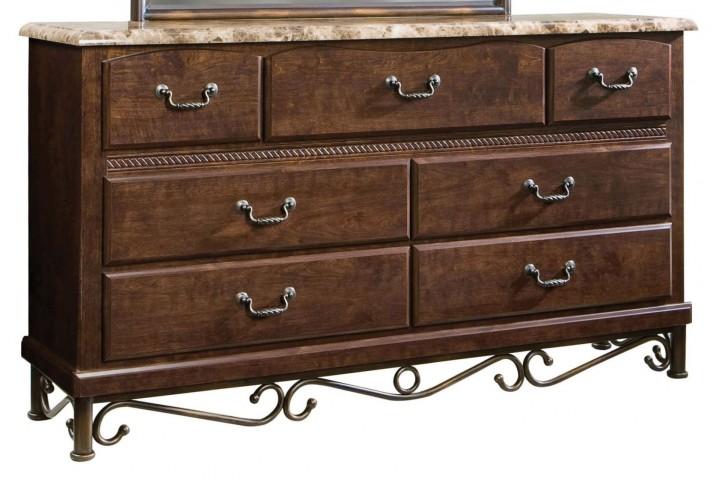 Santa Cruz Warm Brown Cherry Marbella Top 7 Drawer Dresser