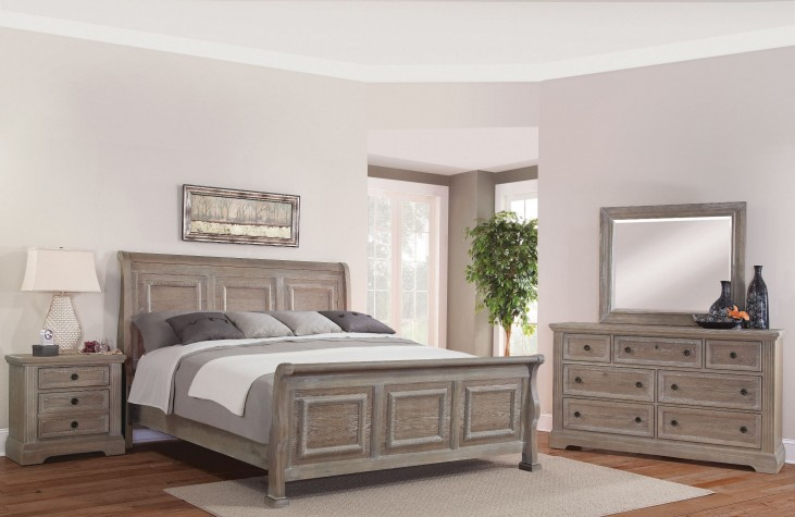 Affinity Reclaimed Gray Sleigh Bedroom Set
