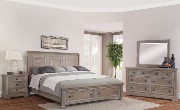 Affinity Reclaimed Gray Sleigh Storage Bedroom Set