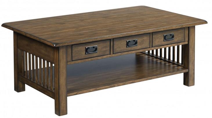 Canyon II Mid Tone Oak Rectangular Cocktail Table