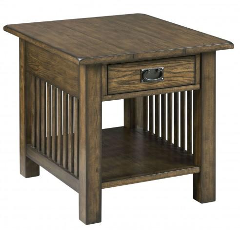 Canyon Ii Mid Tone Oak Rectangular Drawer End Table