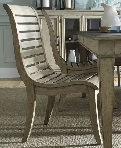 Grayton Grove Driftwood Slat Back Side Chair Set of 2