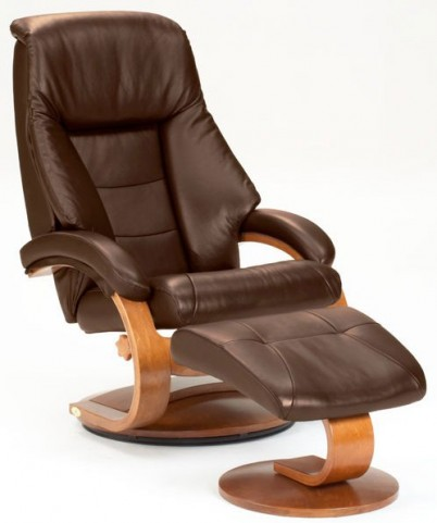 Oslo Espresso Brown Top Grain Leather Swivel Recliner with Ottoman