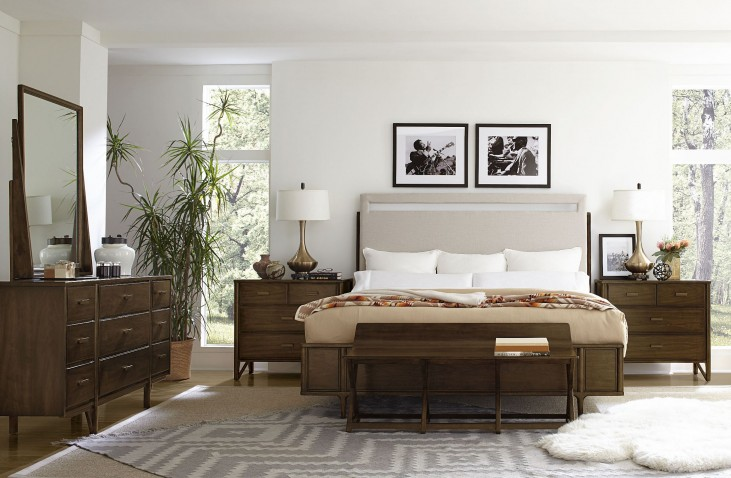 Santa Clara Burnished Walnut Upholstered Bedroom Set
