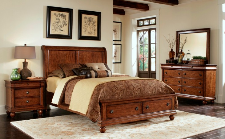 Rustic Traditions Sleigh Storage Bedroom Set