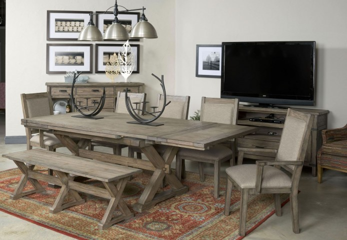 Foundry Extendable Saw Buck Dining Room Set