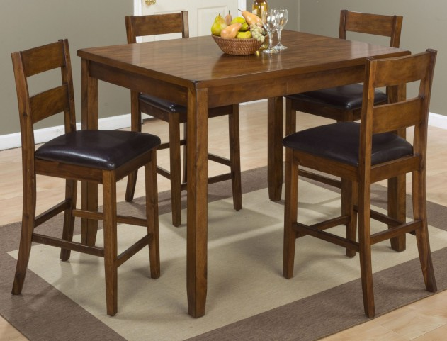 Plantation Warm Brown 5 Piece Counter Height Dining Room Set