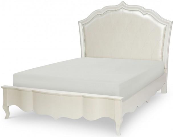 Tiffany Pearlized White Full Platform Upholstered Bed