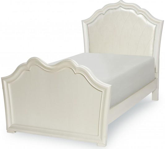 Tiffany Pearlized White Twin Panel Upholstered Panel Bed