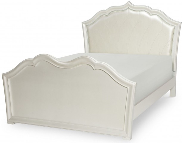 Tiffany Pearlized White Full Panel Upholstered Panel Bed