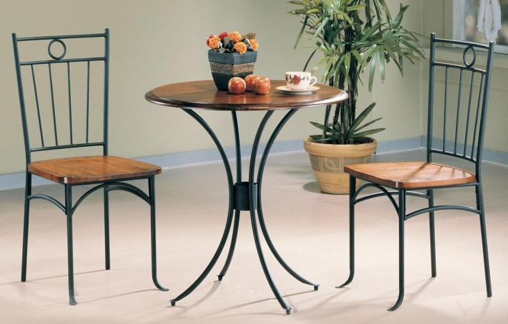 Black Bistro 3 Pcs Round Dining Table Set 5939