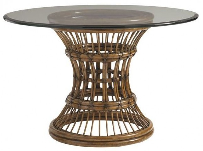 "Bali Hai 84"" Aruba Glass Round Dining Table"