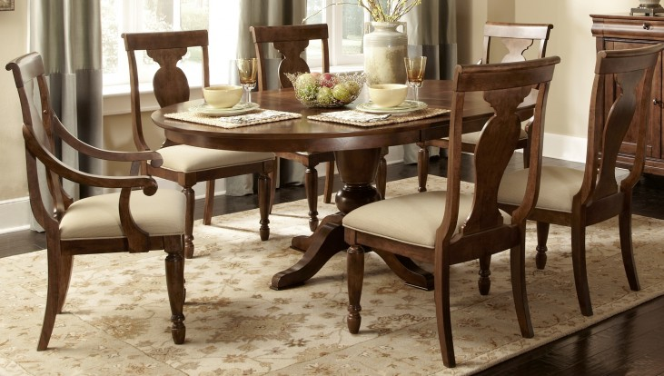 Rustic Tradition Oval Pedestal Dining Room Set