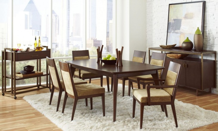 Modern Harmony Burnished Walnut Rectangular Leg Dining Room Set