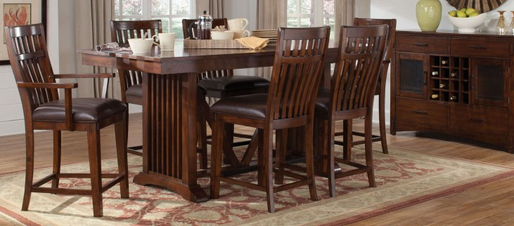 Artisan Loft Warm Medium Oak Rectangular Extendable Counter Height Dining Room Set