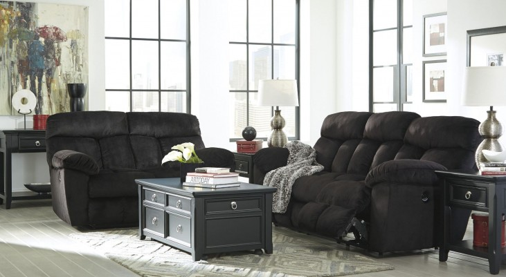 Saul Black Reclining Living Room Set