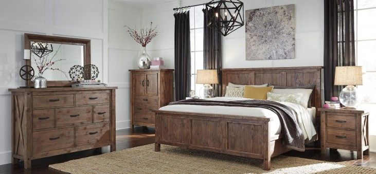 Tamilo Grayish Brown Panel Bedroom Set