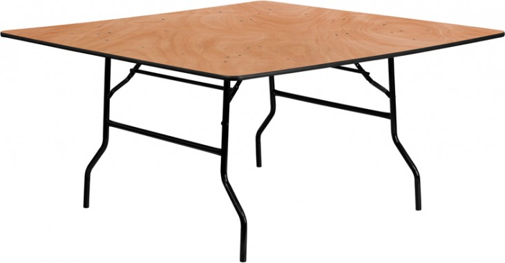"60"" Square Wood Folding Banquet Table"