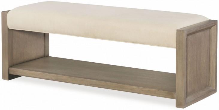 High Line Greige Upholstered Bench