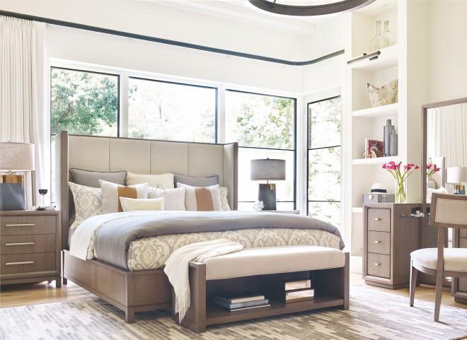 High Line Greige Upholstered Shelter Bedroom Set