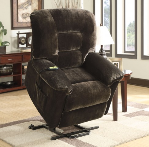 Chocolate Upholstered Power Lift Recliner