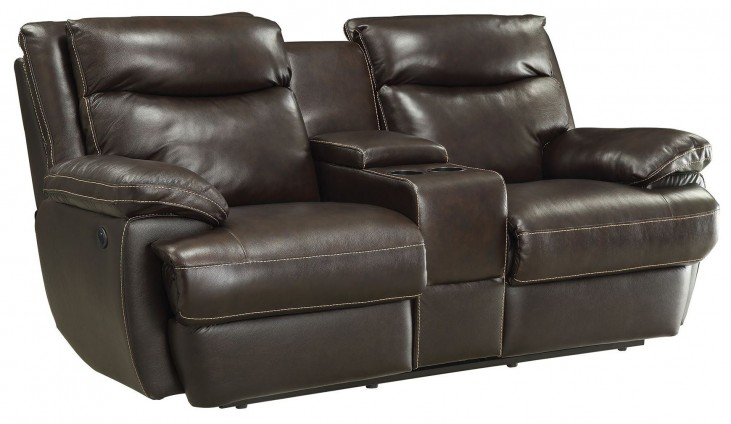 Macpherson Cocoa Bean Power Reclining Console Loveseat