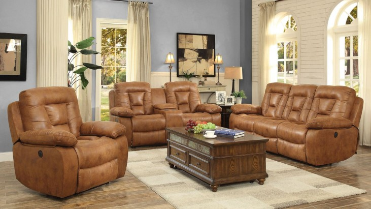 Evensky Saddle Power Reclining Living Room Set