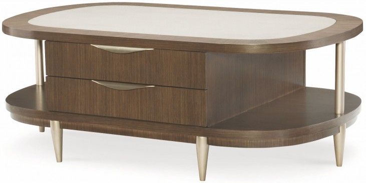 Soho Ash 2 Drawer Oval Cocktail Table